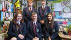 Tara Garfield, Jack Hamill, Pearse McGowan, Conor Brattin and Saule Nausedaite, final year students at Oakgrove Integrated College in Derry. Photograph: Freya McClements/The Irish Times