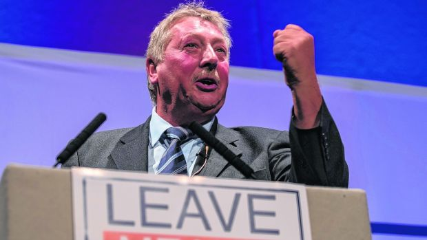 DUP MP Sammy Wilson said the UK would 'break free from the EU prison' as Brexit happened at 11pm on Friday night. Photograph: Matt Cardy/Getty Images.
