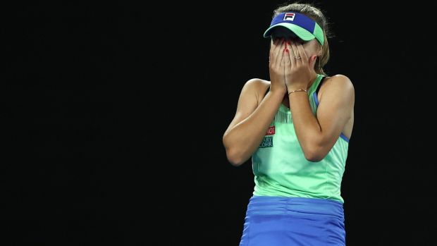 Sofia Kenin after her Australian Open victory. Photograph: Clive Brunskill/Getty