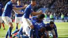 Leicester City's  players  celebrate Ben Chilwell goal during the Premier League match against Chelsea  at the King Power Stadium. Photograph: Nick Potts/PA Wire