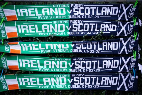 A view of Ireland v Scotland scarves ahead of the match. Photo: Tom Honan/The Irish Times.
