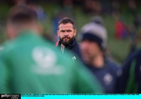Andy Farrell, head coach of Ireland, looks on prior to the match. Photo: Charles McQuillan/Getty Images