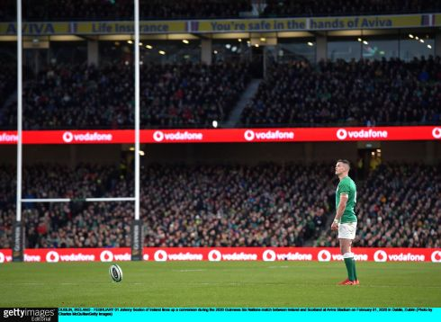 Johnny Sexton of Ireland lines up a kick at goal. Photo: Charles McQuillan/Getty Images