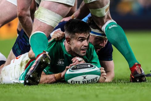 Ireland's Conor Murray recycles the ball. Photo: Billy Stickland/Inpho