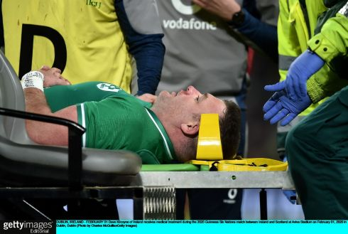 Dave Kilcoyne receives medical treatment before being taken off. Photo: Charles McQuillan/Getty Images