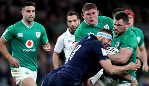 Scotland's Nick Haining and Cian Healy of Ireland. Photo: James Crombie/Inpho