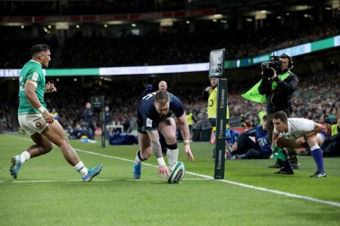 Scotland's fullback Stuart Hogg fumbles the ball and drops over the line. Photo: Paul Faith/Getty Images