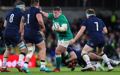 Ireland's Tadhg Furlong with Scotland's Nick Haining, Rory Sutherland and Hamish Watson. Photo: Billy Stickland/Inpho