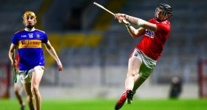 Cork's Damien Cahalane shoots on goal during the Allianz Hurling League Division 1A game against Tipperary at  Páirc Uí Chaoimh. Photograph: Ken Sutton/Inpho