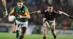 Kerry's James O'Donoghue takes on the Galway defence. Photograph: Keith Wiseman/Inpho
