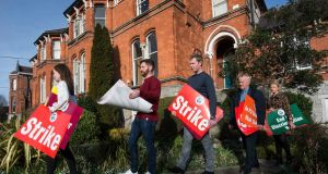 Members of the TUI prepare for Tuesday's one-day strike. Pictured on right is TUI president Seamus Lahart, with (from left) teachers Rachel Flynn, Kyle Clarke, Conor Crowley and Ciara Stack. Photograph: Dave Meehan