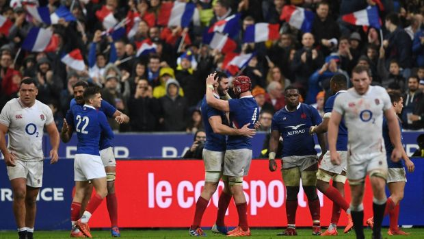 France' celebrate their win over England in Patis. Photograph: Martin Bureau/Getty/AFP