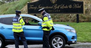 Gardaí at Dunbeg,  June 2019. Security around  Trump and Pence visits cost  Garda €14.7m. Photograph:   Paul Faith/AFP/Getty