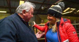Cllr Sarah O'Reilly of Aontú canvassing at Clones mart in Co Monaghan with John McNally from Clones. Photograph: Philip Fitzpatrick