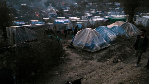 The makeshift camp next to the refugee camp of Moria on Lesbos, January 22nd. Photograph: Aris Messinis/AFP/ Getty