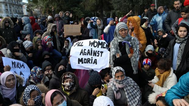Refugees demonstrate in the city of Mytilene against living conditions in the Moria camp, on Lesbos, January 30th. Photograph: Reuters/Elias Marcou