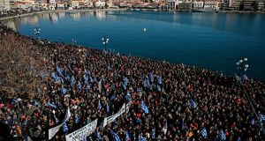 Residents of the island of Lesbos  demonstrate against migrant camps, at the port of Mytilene,  January 22nd. Photograph:  Aris Messinis/ AFP/Getty