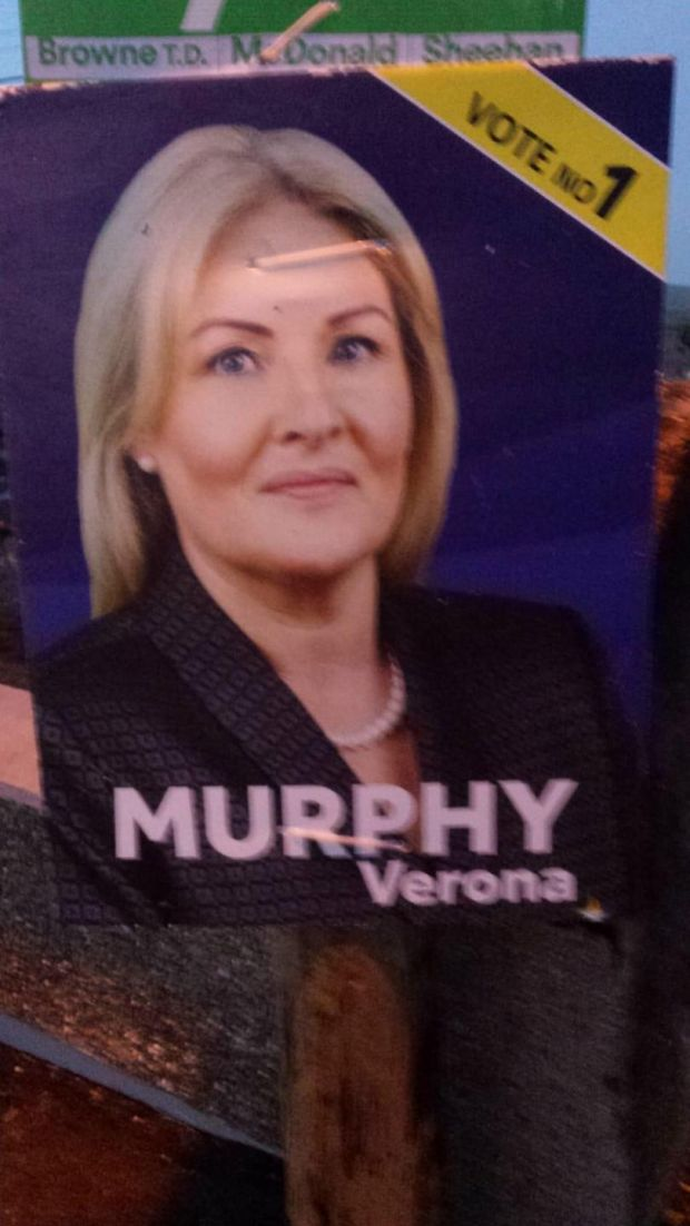 A campaign poster for Verona Murphy in Wexford.