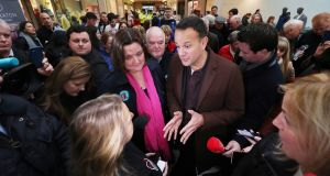 Taoiseach Leo Varadkar and Fine Gael candidate Gabrielle McFadden canvass at Sheraton shopping centre in Athlone, Co Westmeath. Photograph: Niall Carson/PA Wire