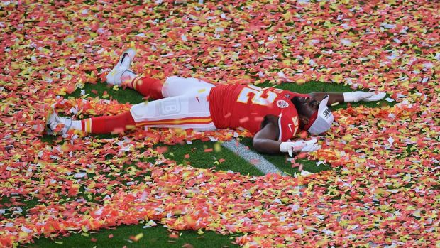 Demone Harris celebrates on the field after his team's win over the San Francisco 49ers. Photograph: Getty Images