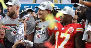 Patrick Mahomes of the Kansas City Chiefs raises the Vince Lombardi Trophy after defeating the San Francisco 49ers 31-20 in Super Bowl LIV at Hard Rock Stadium in Miami, Florida. Photograph: Getty Images