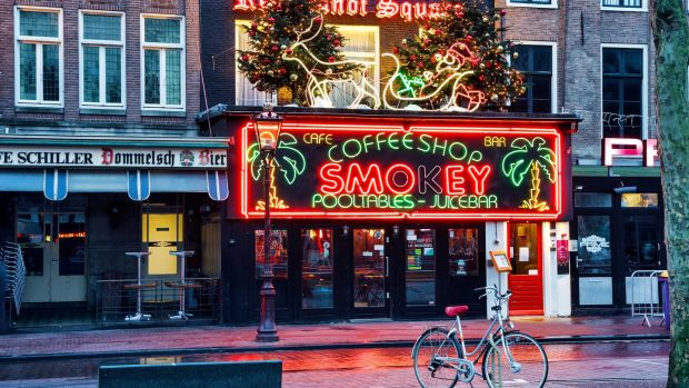A coffee shop on Rembrandt Square, Amsterdam. Photograph: iStock