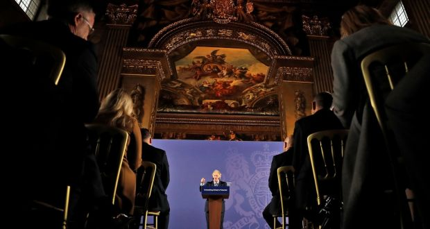 Britain's prime minister Boris Johnson delivers a speech at the Old Royal Naval College in Greenwich on Monday. Photograph:  Frank Augstein/AP/AFP via Getty Images