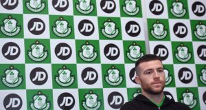 Shamrock Rovers midfielder and PFAI Player of the Year Jack Byrne  during the announcement of JD Sports as the club's new main sponsor  at Tallaght Stadium in Dublin on Monday. Photograph: David Fitzgerald/Sportsfile