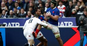 France's Grégory Alldritt against England in Paris.  He is not the most powerful eight in the world, but he regularly finds a weak shoulder or gaps to make additional yards.   Photograph:   EPA/Yoan Valat
