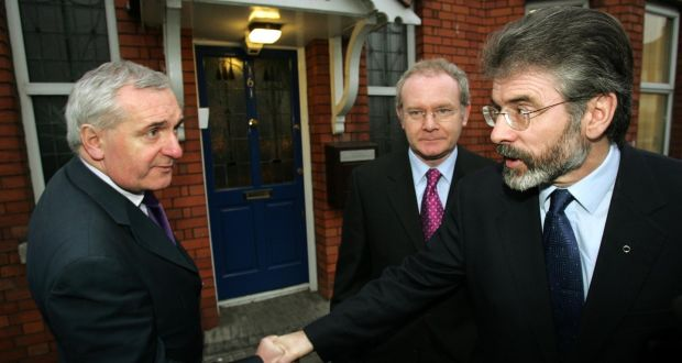 A file photo of then taoiseach Bertie Ahern with Sinn Féin's Martin McGuinness and Gerry Adams. Mr McGuinness denied that the IRA condoned punishment attacks during the IRA ceasefire.  File photograph: Frank Miller