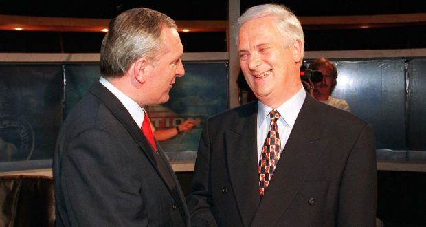 Bertie Ahern and John Bruton during an RTÉ election debate in 1997. Archive files reveal John Major's government viewed Mr Ahern with scepticism. File photograph: David Sleator