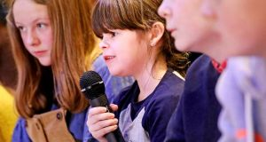 LillyRose Wogan (11) asking a question during the Children's Hustings in The Ark in Temple Bar, Dublin. Photograph: Julien Behal