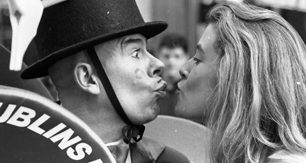Olwyn Donovan from Drimnagh about to kiss The Diceman (Thom McGinty) during her St Valentine's Day 1992 attempt to set a world record for the number of kisses in eight hours. Photograph: Frank Miller