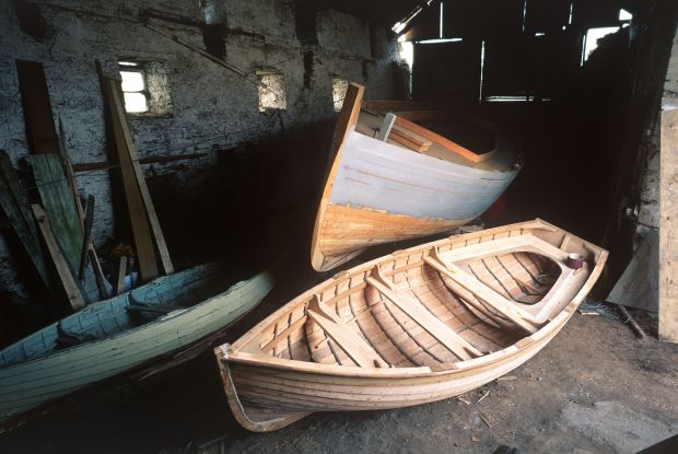 Mackerel Yawl An Rún in build with a clinker punt built by John Hegarty. Photograph: Kevin O'Farrell
