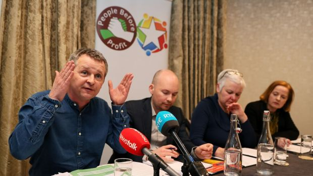 Richard Boyd Barrett (left), Paul Murphy (now of Rise), Bríd Smith and Ruth Coppinger of Solidarity-People Before Profit. Photograph credit: Brian Lawless/PA