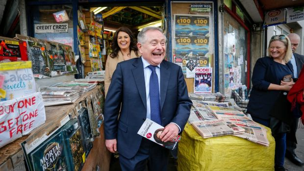 Labour Party leader Brendan Howlin canvassing in Dún Laoghaire with the party's candidate Juliette O'Connell. Photograph by Crispin Rodwell