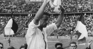 Eintracht Frankfurt's Alfred Pfaff is carried in triumph after his side's title-winning success in 1960. Photograph: Keystone-France/Gamma-Keystone via Getty Images