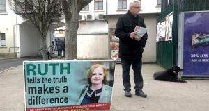 Ruth Coppinger's predecessor Joe Higgins arrives to give a hand. As shoppers say hello to him, he says: 'We need to keep a fighter in there. You could have four males elected and no female fighter'. Photograph: Harry McGee