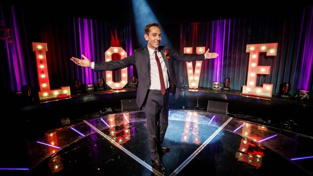 Ryan Tubridy on the set of The Late Late Show Valentine's Special
