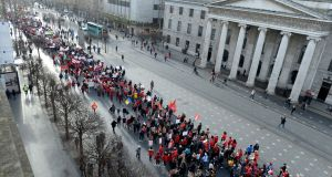 The childcare march passing down O'Connell Street, Dublin. Photograph: Alan Betson / The Irish Times