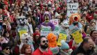 Early childcare providers, educators, and parents  taking part in the protest. Photograph: Nick Bradshaw/The Irish Times