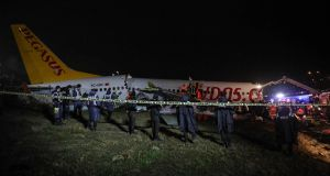 A Pegasus Boeing 737 plane pictured after it skidded off the runway at Istanbul's Sabiha Gokcen airport. Photograph: Muhammed Demir/AFP via Getty