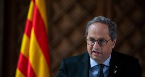 The Catalan parliament has agreed to appeal against the decision to strip Catalan president Quim Torra of his seat. Photograph: Emilio Morenatti/AP Photo