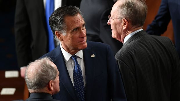 Republican senator Mitt Romney broke lines with his party to vote to convict president Trump. Photograph: Mandel NGAN/AFP via Getty Images