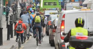 There are 10 junctions around the city where the Dublin Cycling Campaign says there have been multiple slips and falls reported.  Photograph: Alan Betson / The Irish Times