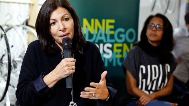 Anne Hidalgo gives a press conference as part of the campaign for the mayoral elections in Paris. Photograph: Thibault Camus/AP Photo