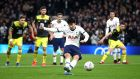 Heung-Min Son scores  Tottenham Hotspur's third goal from the penalty spot  during the FA Cup fourth-round replay against Southapmton  at Tottenham Hotspur Stadium. Photograph: Julian Finney/Getty Images