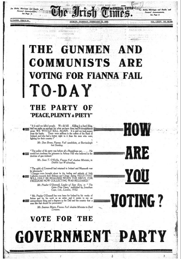 Front page Irish Times advertisement taken out by Cumann na nGaedheal on the morning of the election, February 16th 1932