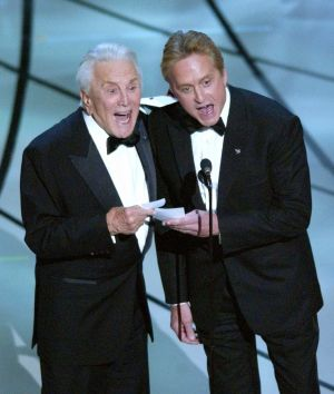 Father-son presenters Kirk and Michael Douglas shouting out Chicago,  which starred Michael Douglas's wife Catherine Zeta-Jones,  as the best picture at the 75th annual Academy Awards in Los Angeles in March 2003. Photograph: Kevork Djansezian/AP