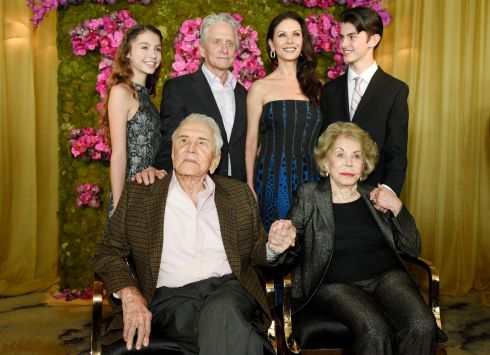 Kirk Douglas celebrating his 100th birthday on December 9th, 2016, with his wife Anne, and son Michael (standing second left)  his wife Catherine Zeta-Jones, and their children, Carys and Dylan. Photograph: Chris Pizzello/Invision/AP)